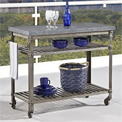Kitchen Cart in Aged Metal with Concrete Top