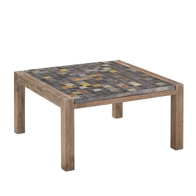 Coffee table in wire brushed with slate top 5601 21 Slate top coffee tables