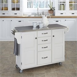 Stainless Steel Kitchen Cart in White