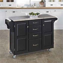 Stainless Steel Kitchen Island Cart in Black