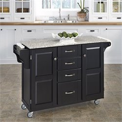 Granite Kitchen Cart in Black