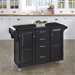 Granite Top Kitchen Cart in Black