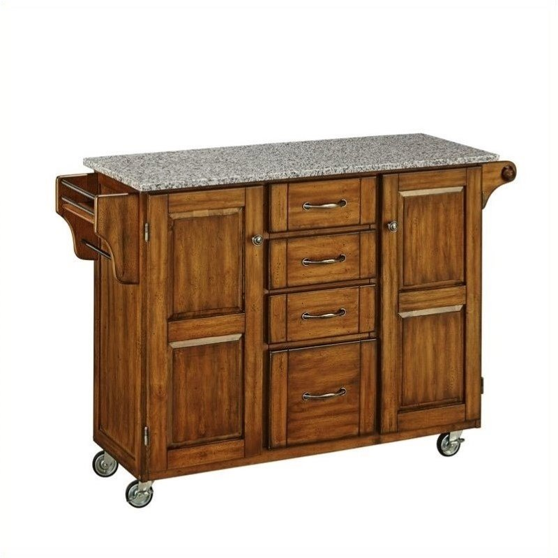Grey Granite Kitchen Cart in Cottage Oak Finish