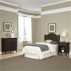 Twin Headboard 3 Piece Bedroom Set in Espresso