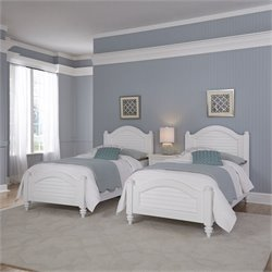 2 Twin Beds and Night Stand in White