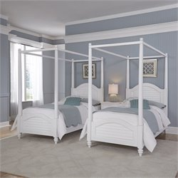 2 Twin Canopy Beds and Night Stand in White