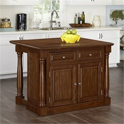Kitchen Island with Wood Top in Oak