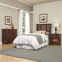 Home Styles Cabin Creek Twin Headboard 3 Piece Bedroom Set in Chestnut