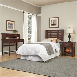 Twin Headboard 4 Piece Bedroom Set in Chestnut