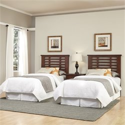 Home Styles Cabin Creek 2 Twin Headboards and Night Stand in Chestnut