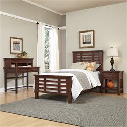 Home Styles Cabin Creek Twin Bed 4 Piece Bedroom Set in Chestnut