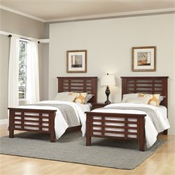 Home Styles Cabin Creek 2 Twin Beds and Night Stand in Chestnut