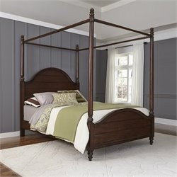 Queen Canopy Bed in Aged Bourbon