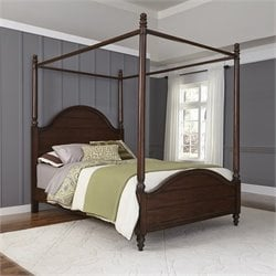 King Canopy Bed in Aged Bourbon