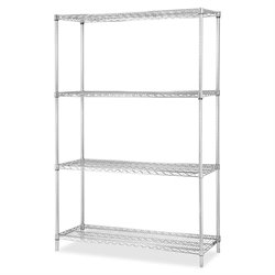 Lorell Chrome Industrial Shelving Add-on Unit