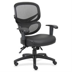 Lorell Mesh-Back Leather Seat Executive Chair